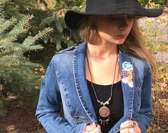 Om charm  Necklace, leather necklace,long necklace, hippie necklace, zen necklace, tribal necklace, jasper, howlite, aventurine charm Zasra