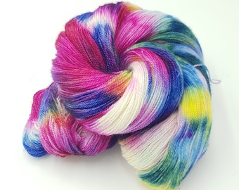 Hand Dyed Laceweight Super Fine Falkland Wool - Watercolour Scene