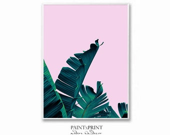 Tropical Leaf Print, Botanical Print, Palm Print, Banana leaf print, Wall art prints, Palm Leaf Print,  Large wall art, Printable wall art,