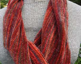 Handwoven Rayon Chenille Autumn Short Mobius Scarf