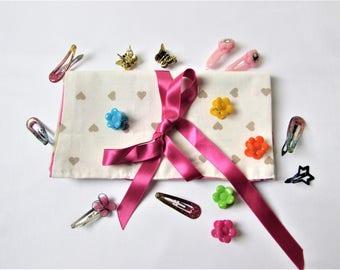 Hair clip, cotton pouch pink Princess crowns, fairy, fuchsia satin charm origami Kit, Christmas girl birthday gift