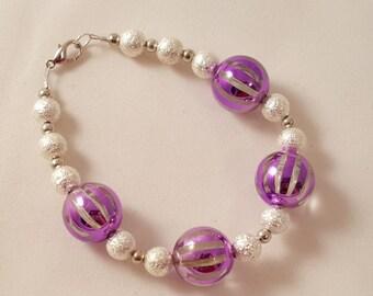 Candy Stripe Bracelet - Purple Bracelet - Silver Bracelet - Single Strand Bracelet - Purple Jewelry - Purple Stripe Bracelet-Women's Jewelry