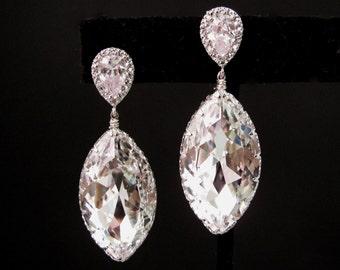 bridal jewelry wedding fancy rhinestone swarovski foiled back clear white marquise shape crystal with teardrop cubic zirconia earrings post