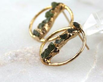 peridot earrings, gold earrings, modern earrings, raw peridot earrings, post earrings earrings, hoop earrings, august birthstone