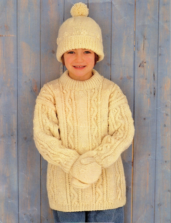 Childrens Aran Sweater Knitting Pattern Childs Aran Sweater