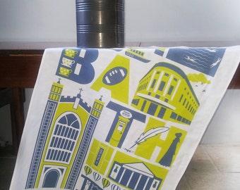 Bath city typographic tea towel
