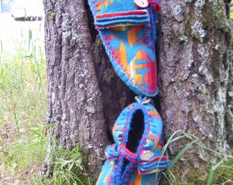 More Turquoise in My Pocket - Felted Blanket Wool/ Wool Lined / Sheepskin & Leather Soles Moccasins / Slippers - Women's Sizes