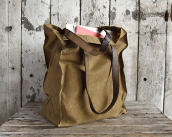 Marlowe Carryall Tumbleweed, Waxed Canvas Tote, Waxed Canvas Bag, Shoulder Bag, Market Tote, Waxed Canvas Carryall, Leather, For Him For Her
