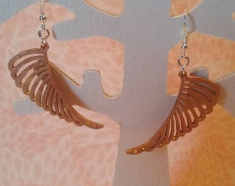 Earrings - copper feathers and gold