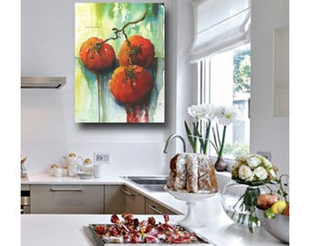 Kitchen Print| Tomato Kitchen Print | Green, Red Kitchen Art | Impressionistic Watercolor Botanical Print | Spanish Kitchen Decor