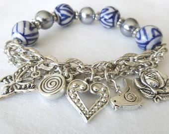 Charm Bracelet, Beaded Charm Bracelet, Friendship Bracelet, Blue White Silver beaded Bracelet,