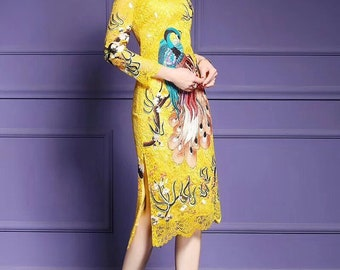 Long Sleeve Lace Yellow Mandarin Qipao Dress