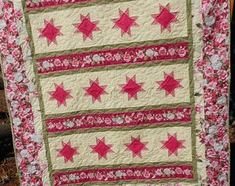 Quilt Pattern: Cuddle Me In The Garden Quilt Pattern by Little Louise Designs Throw or Queen - Hard Copy Version - FREE SHIPPING!!