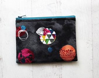 zippered pouch - small makeup bag - black bag -  zipper pouch - watercolor bag - gift for her - change purse - bag