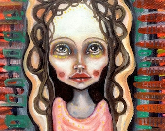 Original, art, figurative, abstract, folklore, girl, painting