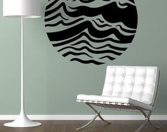 Vinyl Wall Art Decal Sticker Waves Circle OSMB1243m