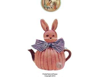 Vintage Bunny Tea Cozy Cosy Knitting Pattern - PrettyPatternsPlease