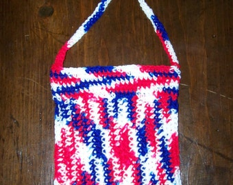 Crocheted tote bag in Red,White and Blue