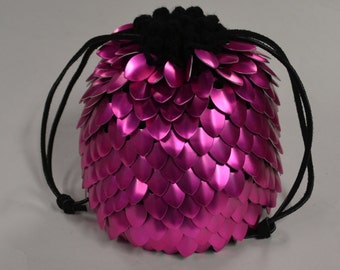 Scalemail Dice Bag of Holding in Knitted Dragonhide Armor Pink Knight
