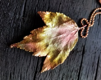 Electroformed Maple Leaf Necklace Free Ship