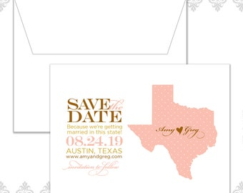 Texas State Save the Dates (available in all states), Custom State save the date, Wedding Save the date, Texas Wedding, Vintage theme, pink