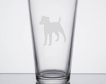 Jack Russel Terrier, Pint Glass, Etched Beer Pub glass