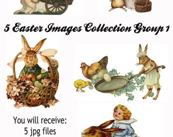 5 Vintage Easter Victorian Scrap Images Group 1, in jpg, gif, png and pdf files for Altered Art Projects, Scrapbooking, Instant Download