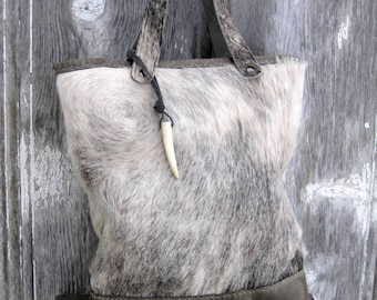 Hair On Cowhide and Distressed Leather Tote Bag in Grey Roan Hide - available with or without - Detachable Shoulder Strap by Stacy Leigh