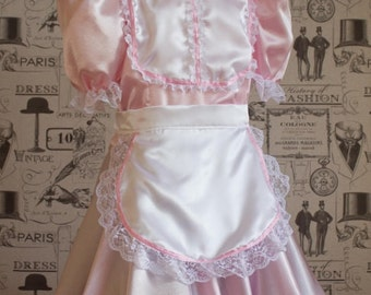"French Maid Dress ""The Betty"" - Pink Satin Sissy Dress -  Removable Apron included"