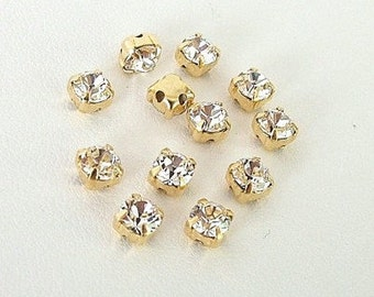 Set of 12 Clear and Gold 4.6mm Swarovski Chaton Montees, 53201 Sew On Rhinestones, SS19, Gold Plated Settings, Swarovski Sew On Chatons