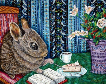 bunny art - bunny rabbit coffee cafe art PRINT 11x14 JSCHMETZ modern abstract folk pop art american ART gift - bunny gift