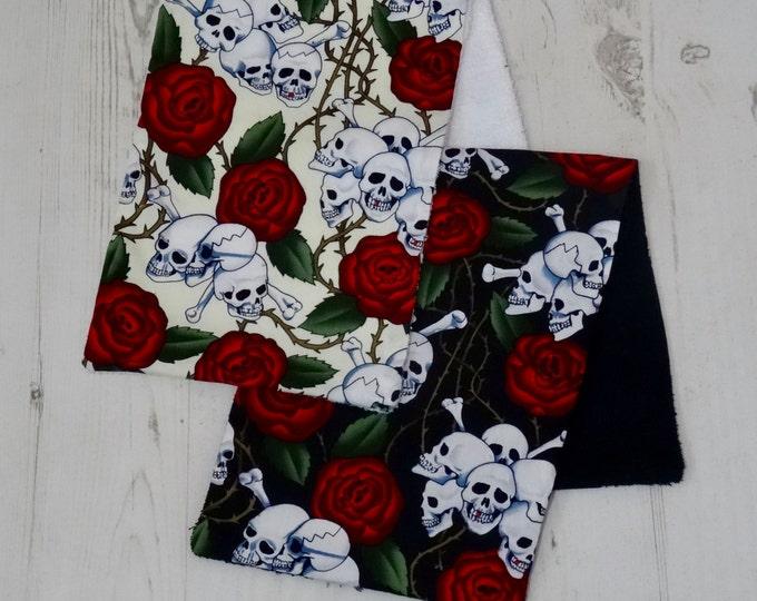 Skull and Rose Baby Burp Cloth - Set of 2 - Dribble Bib Gift Shower Rag Rockabilly Skeleton Rock