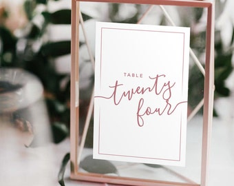 Wedding Table Numbers with Frames: ROSE GOLD, Calligraphy, Modern Wedding, Centerpieces, Geometric Floating Frames