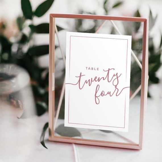 Wedding Table Numbers with Frames: ROSE GOLD Copper
