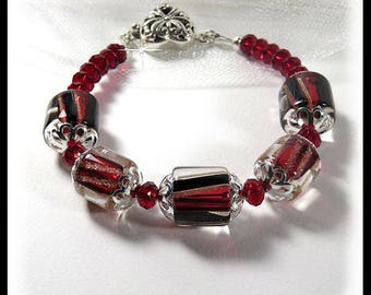 Crimson Red bracelet, David Christensen bead bracelet, Red crystal bracelet, heart bracelet, love bracelet, Valentine's Day Jewelry