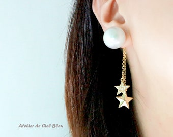 Pearl Earrings, Gold Star Earrings, Large Pearl Stud Earrings, Ear Jacket Earrings, Long Earrings, Bridemaids Earrings, Pearl Bridal Jewelry