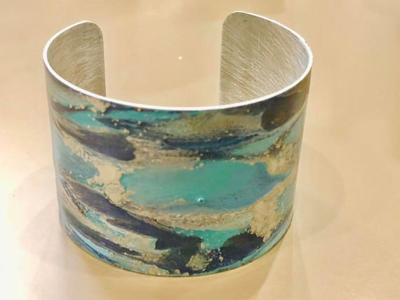 SJC10053 - Enamel painted aluminum cuff open bracelet with abstract design (dark blue, turquoise blue, silver)