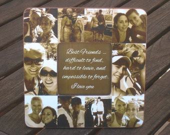"Best Friend Gift, Unique Sister Gift, Bridesmaid Collage Picture Frame, Custom Maid of Honor Frame, Bridal Shower Gift, 8"" x 8"" Frame"