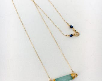 Aquamarine crystal and gold necklace, gemstone jewelry