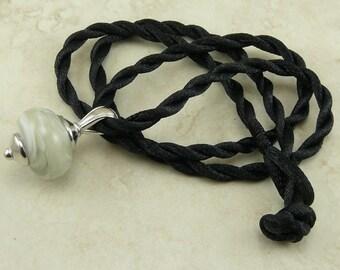 "Misty Gray Fog Lampwork Bead Focal Pendant Necklace > 18"" Satin Cord - Gray Grey White Mist"
