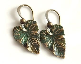 Patina Earrings  Small Leaf Earrings   Bohemian Earrings  Verdigris Patina Earrings  Small Dangle Earrings   Boho Earrings  Gypsy Dangles