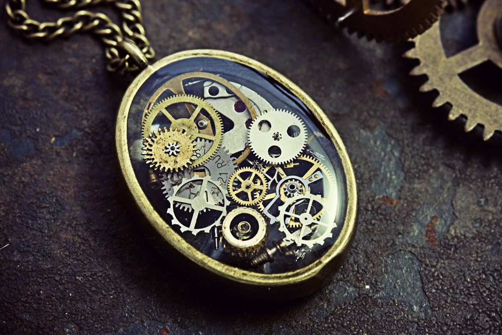 pendant jewelry necklace steampunk i best necklaces pinterest made fine images small heart on eobrosky clockwork