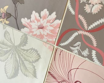 Pack of (4) -  Mauve/Gray Floral Vintage Wallpaper Pack, 11x14 size
