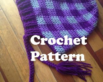 Hat Crochet Pattern, Plaid Hat Pattern, Slouchy Hat Directions, How to Crochet, DIY Plaid Hat, Slouchy Plaid Hat, Plaid Crochet Pattern