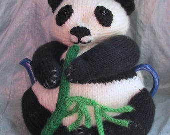 Panda Tea Cosy and Toy - KNITTING PATTERN - pdf file by automatic download