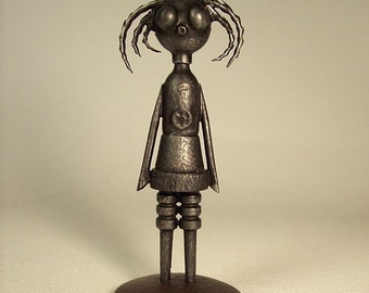 Claudia the Goth Chick Robot Wood Pendant Dangle Comes with Base Stand