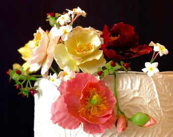 Sugar flowers- clay flowers - poppies, jusmin and berries cake topper