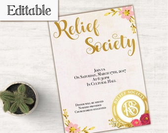 Relief Society Invitation, Editable PDF, LDS Relief Society Digital Printable, Editable file, Birthday Relief Society Invitation