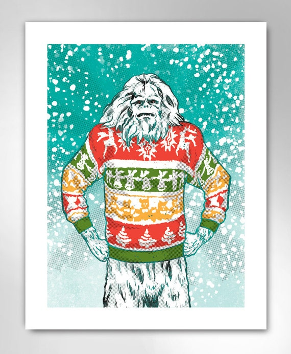 YETI CHRISTMAS Ugly Christmas Sweater Art Print by Rob Ozborne