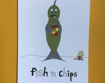Fish n Chips - pun greeting card